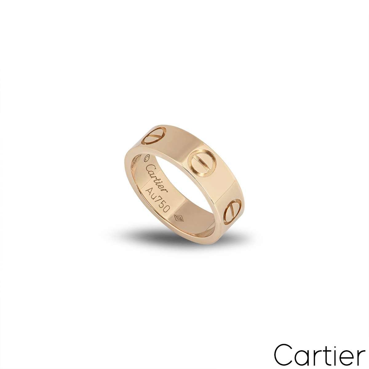 Cartier Rose Gold Plain Love Ring Size 48 B4084800